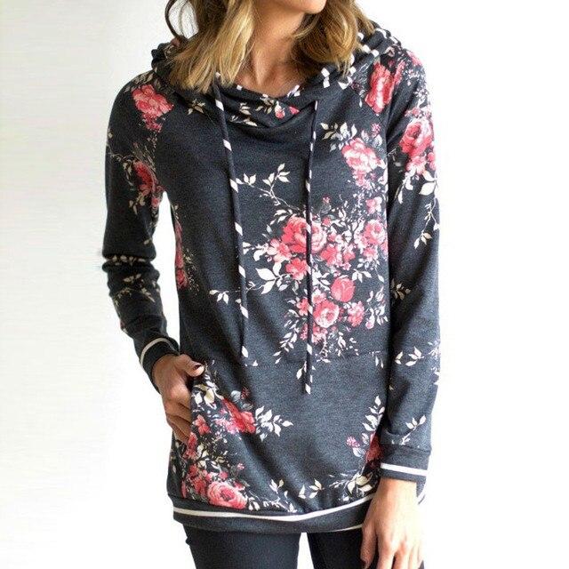 36abd2e00ce Print Pink Floral Hoodie Sweatshirt Female 2017 Autumn Winter Casual  Hoodies Women Long Sleeve Dark Gray Stripe Hood Pullover