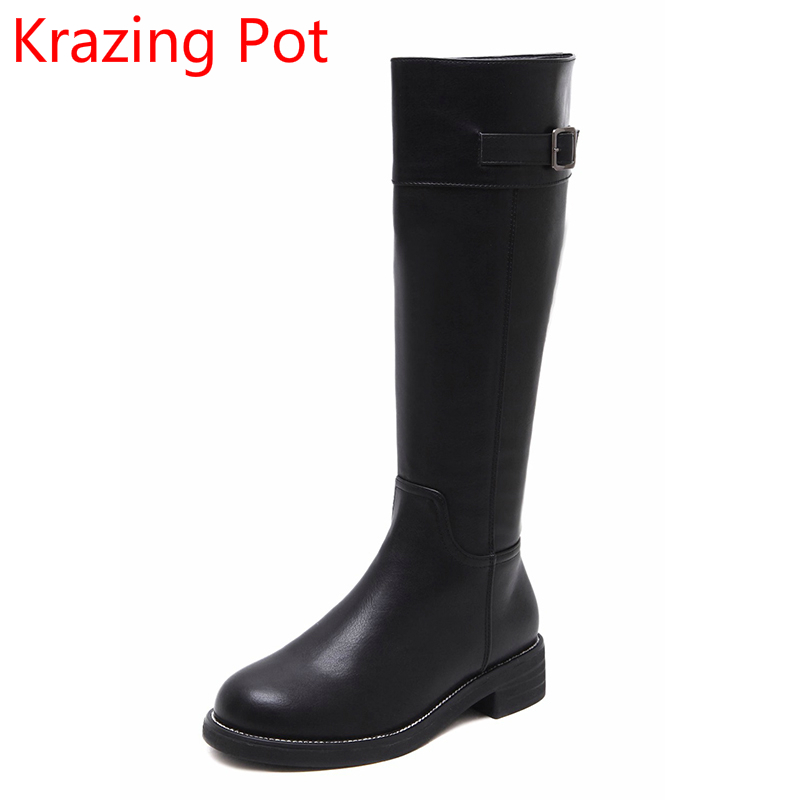 2018 New Arrival Round Toe Keep Warm PU Winter Boots Zipper Thigh High Boots Thick Heel Metal Buckle Riding Boots for Women L6f5