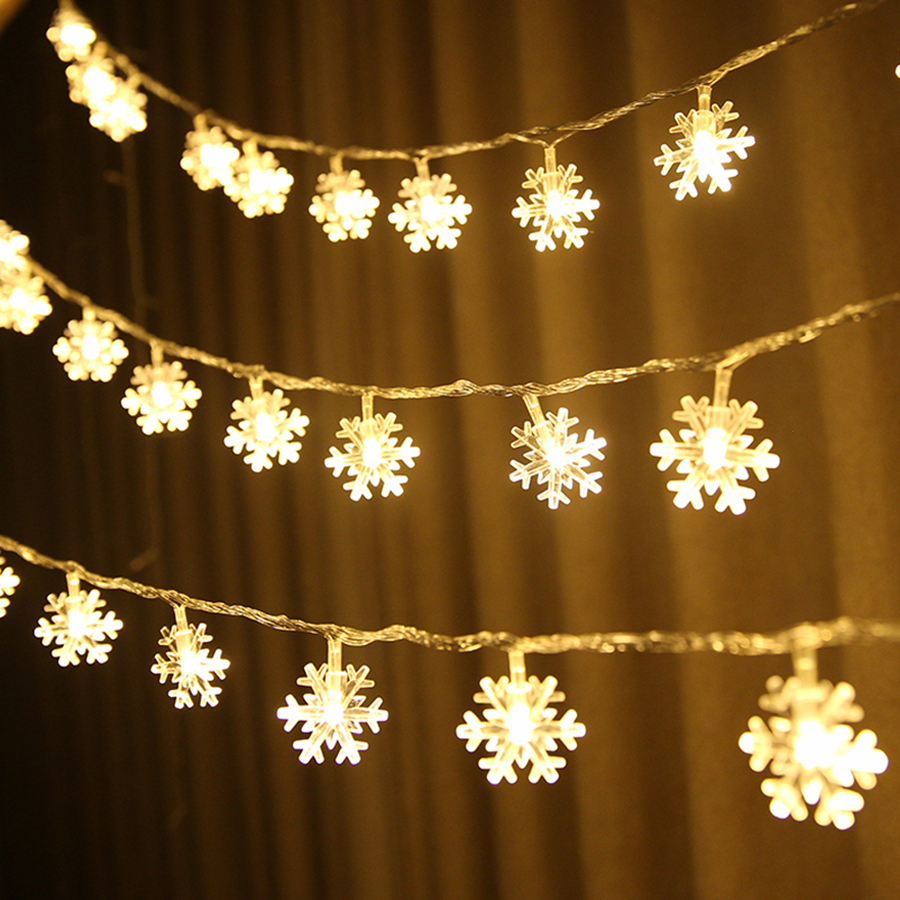 Thrisdar 10M 20M 30M 50M Snowflake LED Fairy String Light Garland Outdoor Christmas Wedding Party Garden Fairy Curtain Light