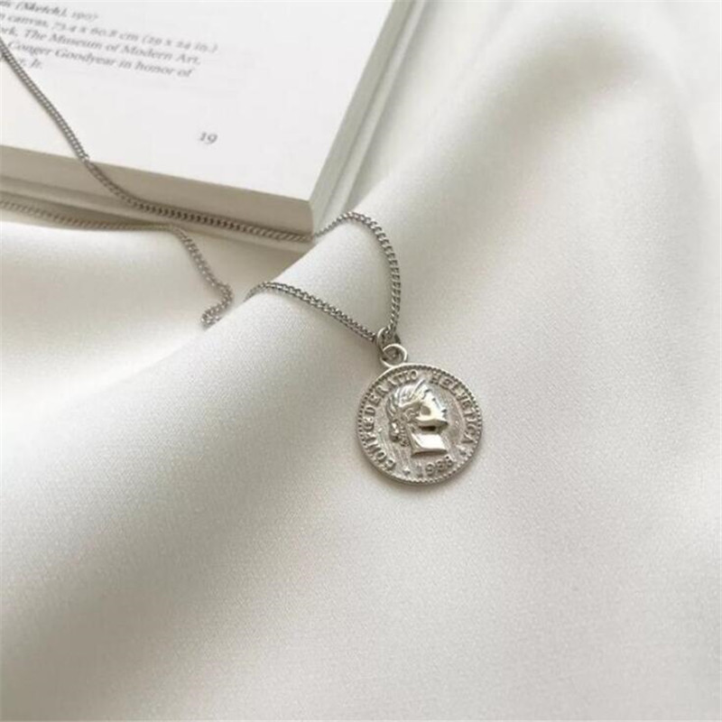 European Style New Pentacle Coin 925 Sterling Silver Fashion Jewelry Creative Round Portrait Pendant Necklaces N295