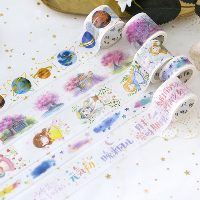 2-4cm*5m Cute girl planet Hot stamping washi tape children diy Diary decoration masking tape kawaii stationery scrapbooking tool 10cm 5m korean natural style deco masking tape planet flowers design washi tape diy scrapbooking diary creative stationery