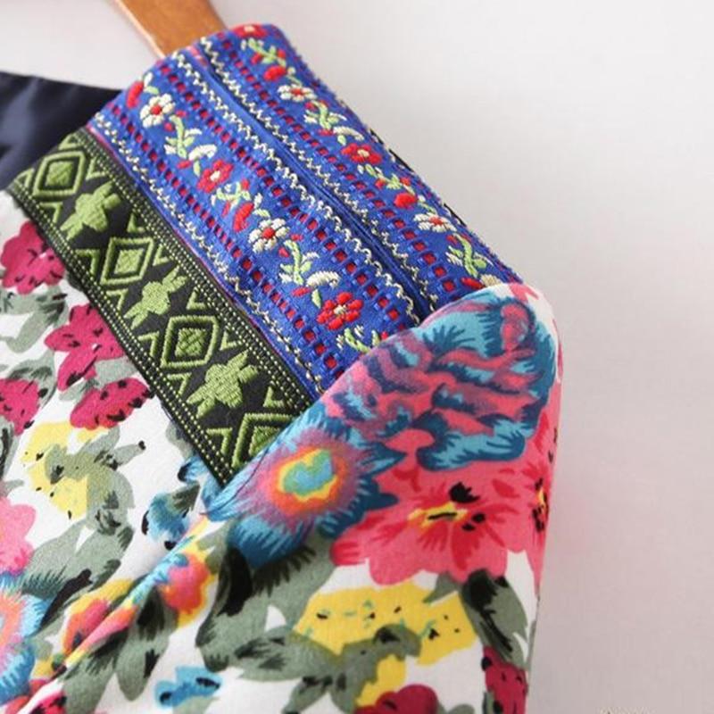 Новинка, осенне-зимняя женская верхняя одежда, винтажная женская короткая куртка с этническим цветочным принтом и вышивкой, тонкая парка, пальто, XQ1901