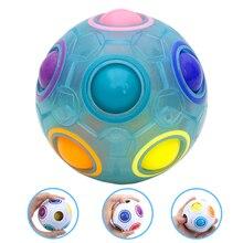 Fashion Adult Kid Ball Magic Cube Toy Plastic Creative Rainbow Football Puzzle Children Learning Educational Toys