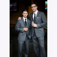 Custom Made Groom Tuxedos Dark gray Man Suits For Wedding Trim Fit groom suit men wedding mens tuxedo ( jacket+Pants+vest+tie)