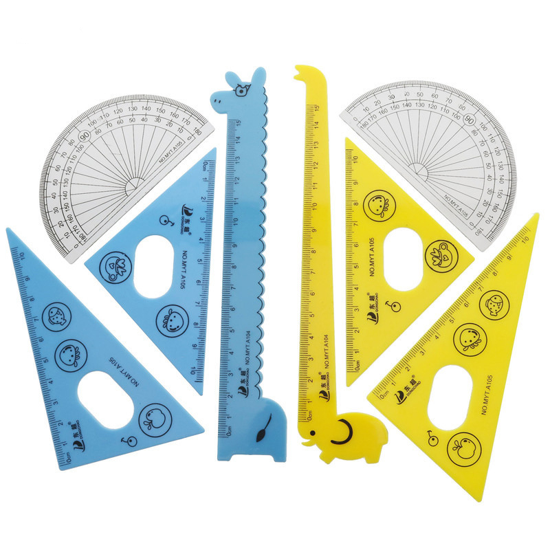 Triangular Plate Protractor Giraffe Modeling Children Learn Painting Tool Combination Ruler 1 Set 4pcs Student School Stationery