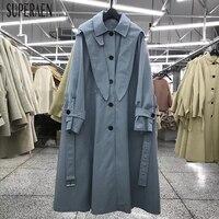 SuperAen корейский стиль ветровка для женщин лук с капюшоном Мода повседневное Тренч для Свободные Европа длинное пальто осень новый 2018
