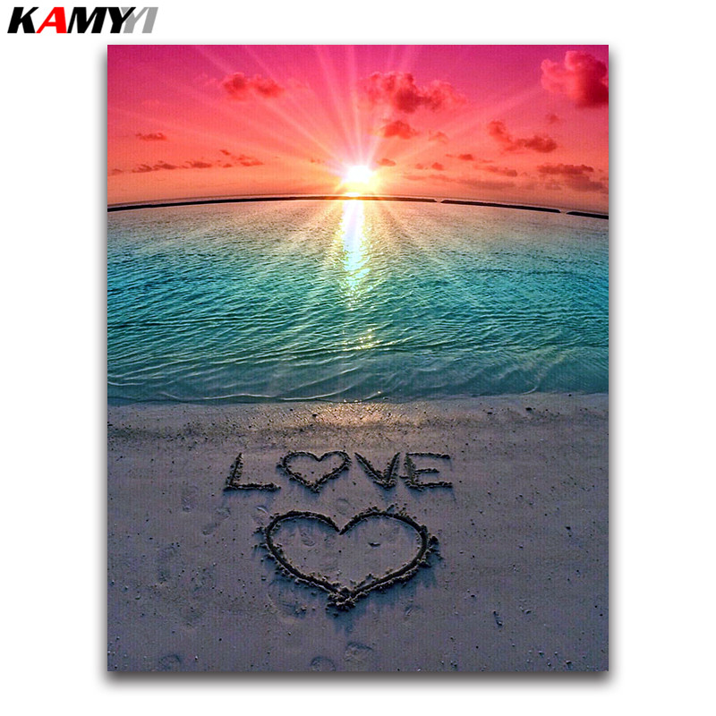 love heart Full square Diamond painting Cross stitch Beach scenery 3D DIY Diamond embroidery seaside round Diamond mosaic Sunset