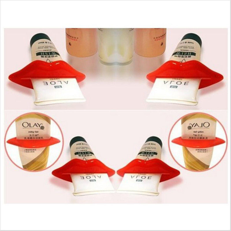 2Pcs Top Sale Sexy Hot Lip Kiss Bathroom Tube Dispenser Toothpaste Cream Squeezer Home Tube Rolling Holder Squeezer 2017 Hot