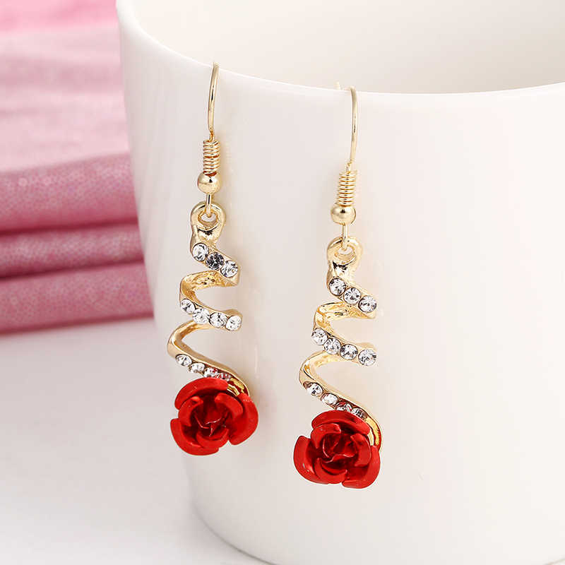E0373 Vintage Red Rose Flower Earrings For Women Exquisite Rhinestone Crystal Drop Earrings Statement Wedding Jewelry Wholesale