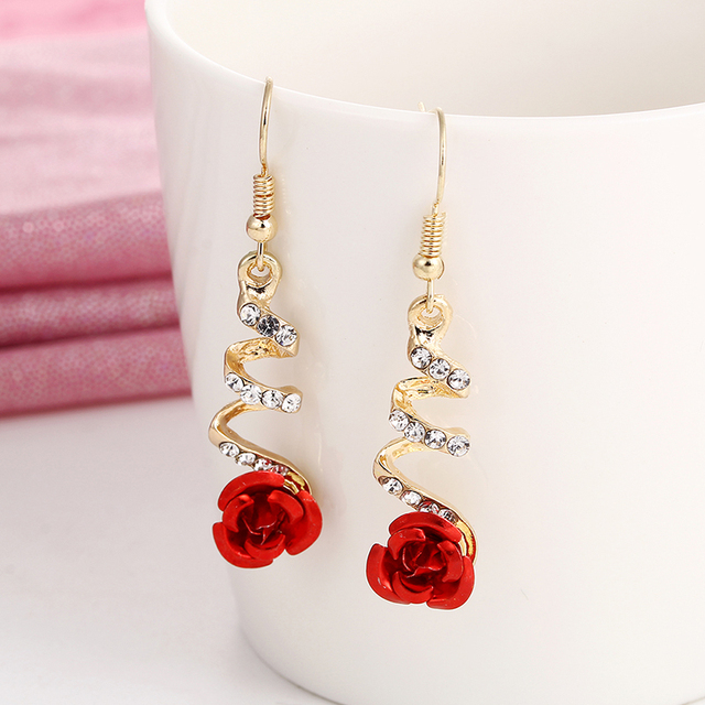 E0373 Vintage Red Rose Flower Earrings For Women Exquisite Rhinestone Crystal Dr