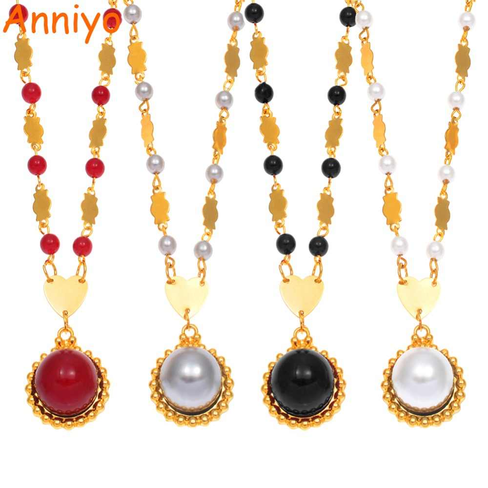 Anniyo Round Ball Pendant Beads Necklaces Hawaii Marshall for Women Guam Micronesia Jewelry Melanesia Party Gifts #163606
