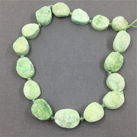MY1171 Oval Slice Green Crystal Druzy Titanium plated Beads,Nugget Quartz Hole Beads