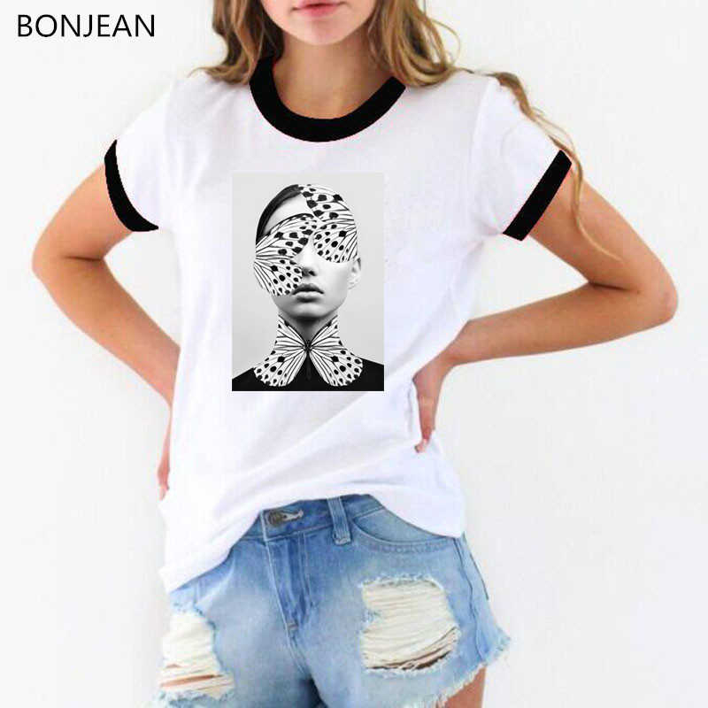 Phụ nữ áo thun 2019 hàn quốc thẩm mỹ quần áo hoa bướm in vintage t áo sơ mi femme mùa hè áo sơ mi nữ t-shirt áo thun