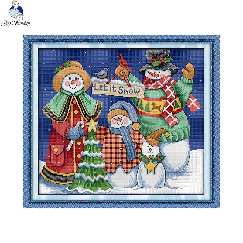 Christmas snowman cross stitch kits counted sets for embroidery chinese thread