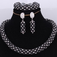 Traditional Bridal Jewelry Set Black Silver Costume Jewelry Choker Necklace Set Free Shipping Fine Jewelry Sets For Women