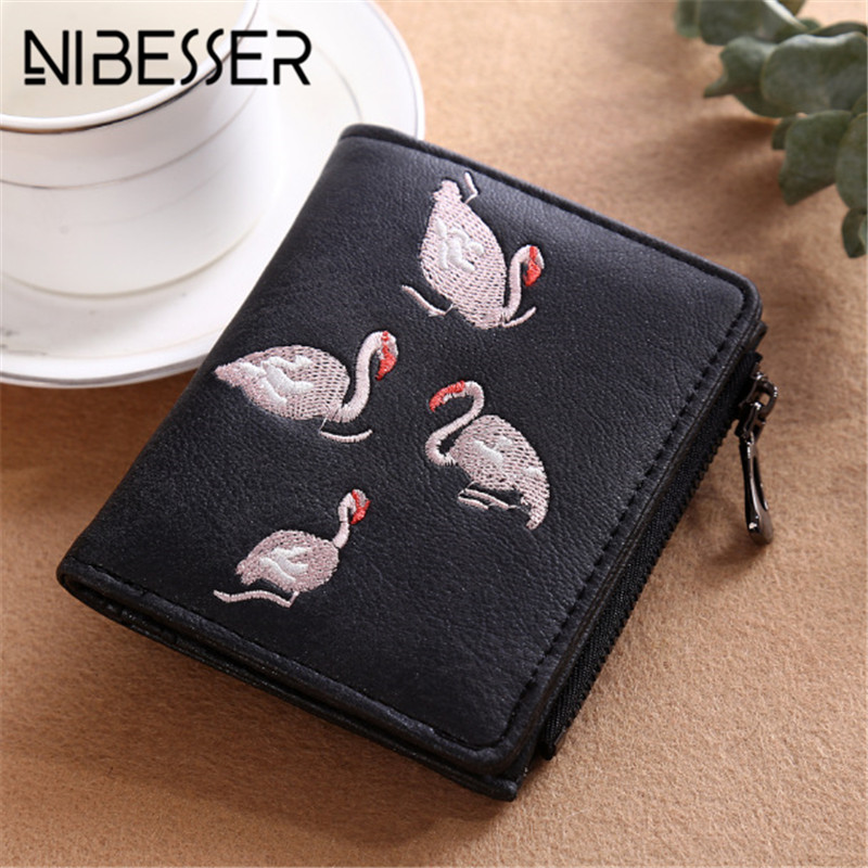 NIBESSER Women Minimalist Wallet Swan Embroidery Credit Wallet Women Clutch Fashion Short Money Clips Girls Purse for Coins