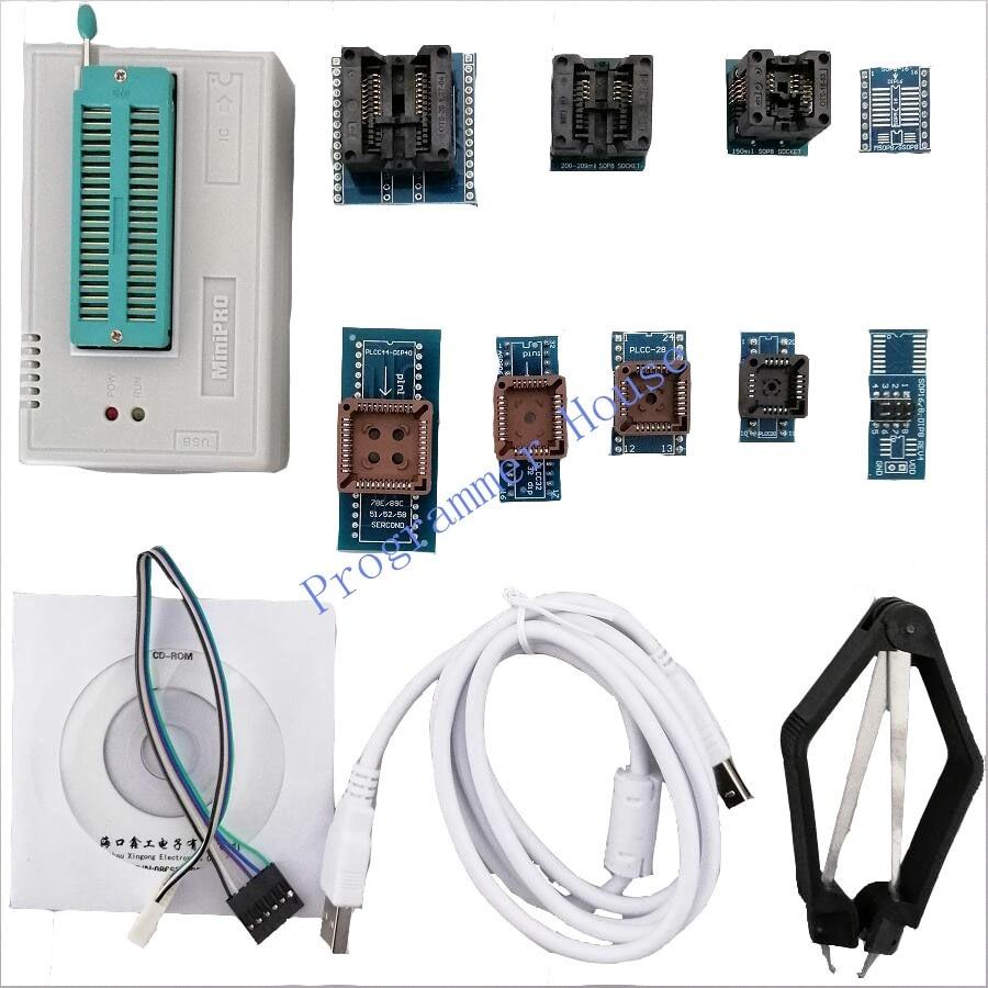 V8.33 Original minipro TL866II Plus TL866A TL866CS USB universel BIOS nand flash 24 93 25 mcu programmeur + 10 adaptateurs + clip SOIC8