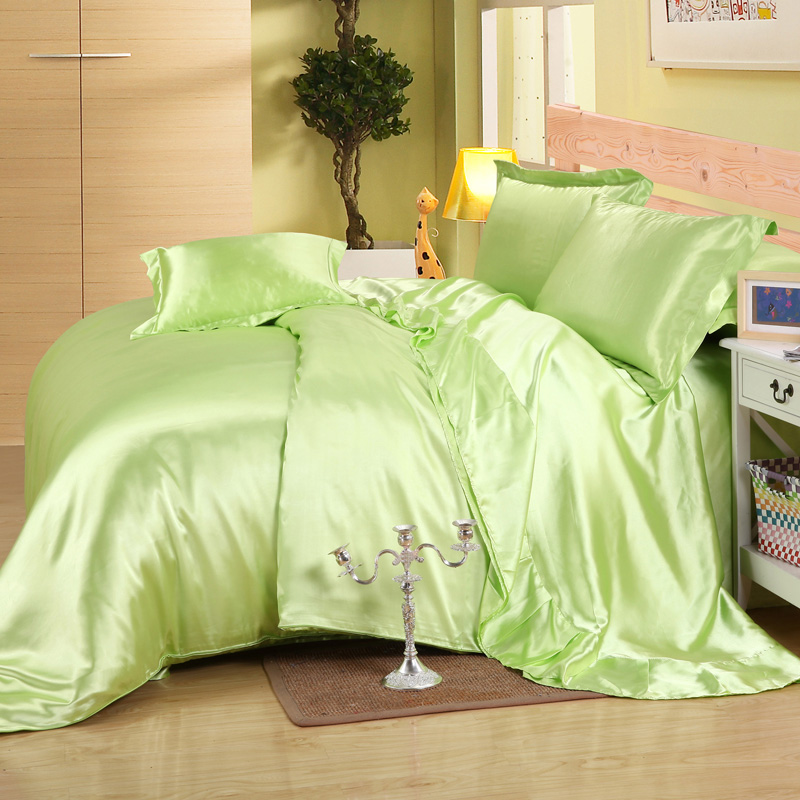 Offre spéciale!! Classique soie satin uni vert bleu noir doré ensemble de literie housse de couette ensemble literie drap de lit ensemble.