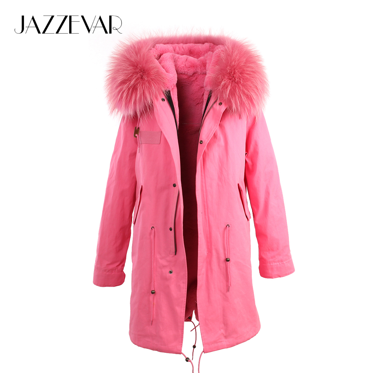 JAZZEVAR 2019 coat women pink faux fur lined parkas with large raccoon fur collar hooded Military winter jackets good quality