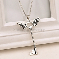 Free Shipping Fashion Accessory 10pcs Antique Silver Plated Angle Wings Cross Key Pendant Necklace Jewelry For