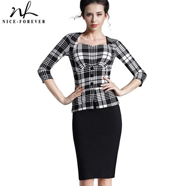 02fd6932fab5 Nice-forever Plaid Sheath Work Dress Square Neck Women Button Fashion  Elegant Houndstooth 3/