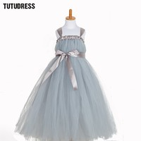 Ribbons Tulle Pageant Tutu Dress Baby Kids Girls Wedding Evening Gowns Dress Birthday Party Princess Dress
