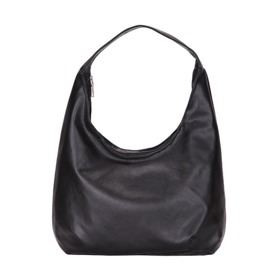 Women\'S Classic Wild Leather Hobos Bag Handbag Black Tote Bag Top-Handle Shoulder Bags Lady Bag Pocket #T