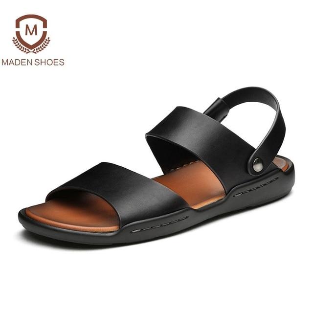 6ff834ef68fe Maden 2018 Summer Cool Genuine Leather Men Sandals Handmade Breathable  Fashion Slides Retro Sandalias Top Quality Beach Sandals