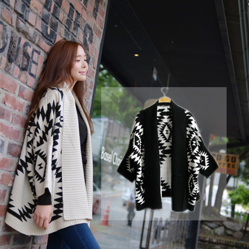 2016 Autumn Women Knitted Sweater Cardigan Loose Shawl Batwing ...