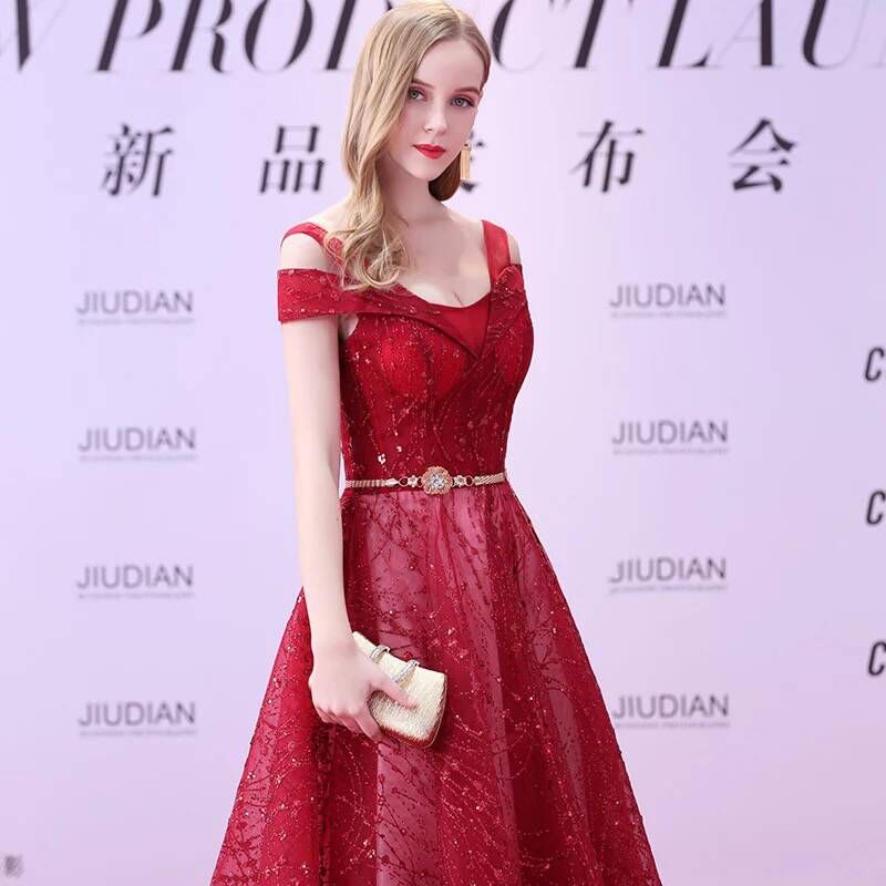Weddings & Events Xh-237 2018 Black Lace V-neck A-line Celebrity Dresses Cap Sleeves Ruffles Prom Dress Backless Custom Mad Red Carpet Gown