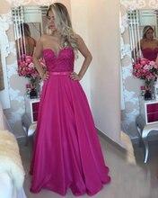 Heißer Verkauf A-Line Liebsten Sheer Zurück Rose Red Abschlussballkleid mit Applqiues Lange Abendkleid Benutzerdefinierte vestido de festa gala jurken