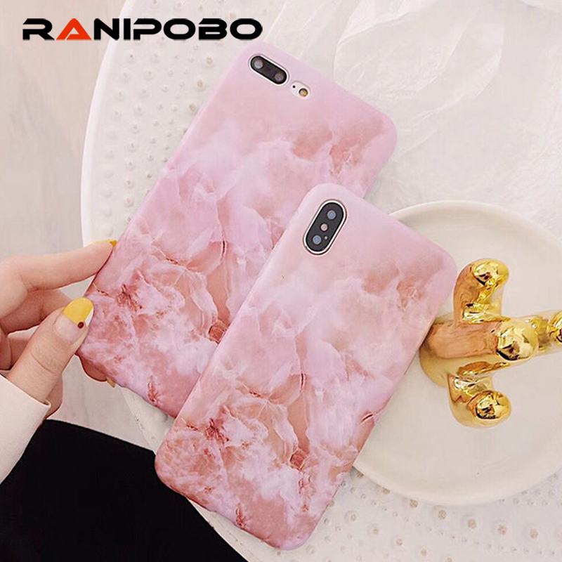 Luxury Glossy Beautiful Pink Marble Mobile Phone Case For iPhone 6 6S 7 8 Plus X Cases Soft IMD Cases Cover Fundas Shell Coque