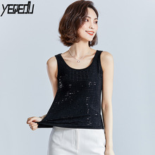#1726 Summer Paillette Tank top Femme Thin Sexy Black/Blue/Silver Top Cropped For Women Feminino Sleeveless Sequin