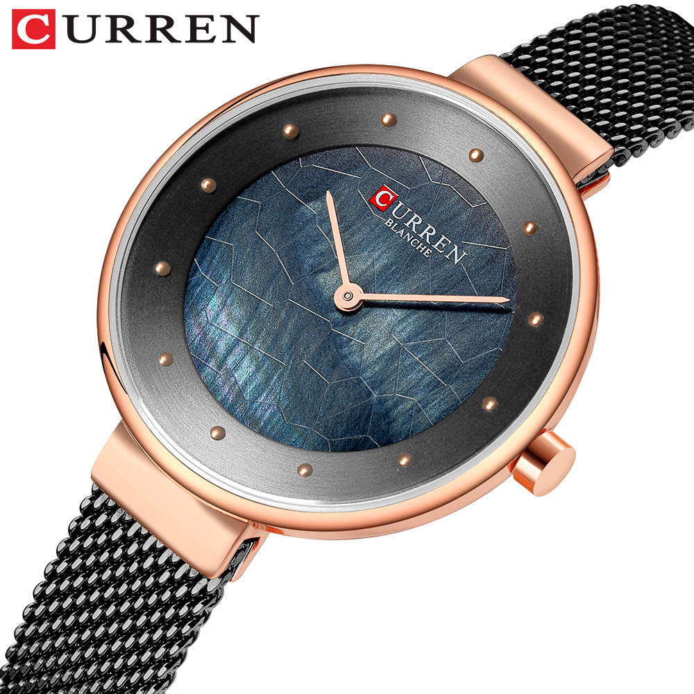 CURREN Creative Womens Watches with Stainless Steel Mesh Strap Charming Quartz Wristwatch Ladies Unique Dial Female Clock