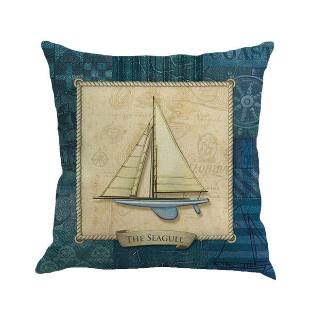 Cushion Cover Blue Anchor Sailor Nautical American Marine Style Cotton Pillow Case Home Decorative Pillows Cover For Sofa Car