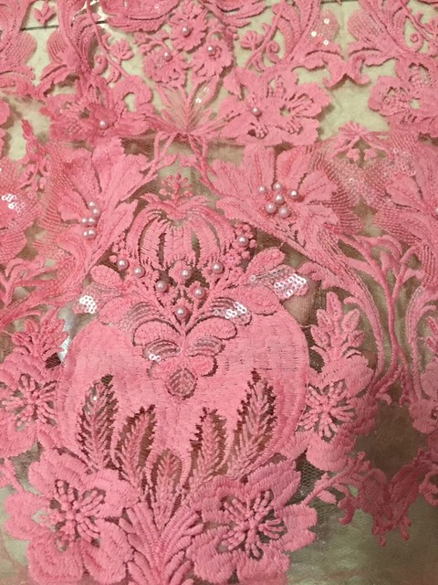 Peach Color New Design African Lace Fabrics High Quality French Lace Fabric  For Party Dress Nigerian Beaded Lace Fabric CD2187 42bc3e5344b4