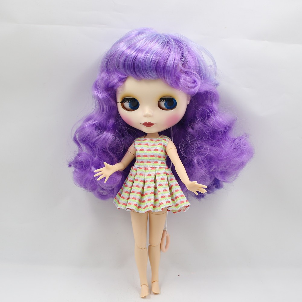 Neo Blythe Doll with Purple Hair, White Skin, Shiny Face & Jointed Body 6