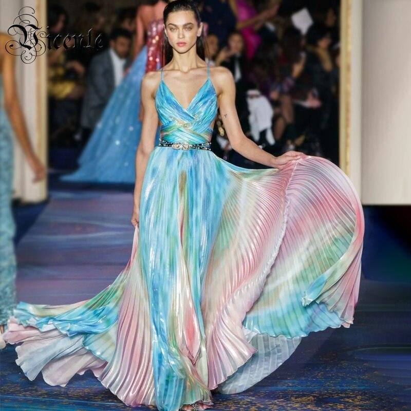 Vicente 2019 nouvelle robe longue en Satin rayé drapé Chic Sexy robe à bretelles spaghetti col en V dos nu