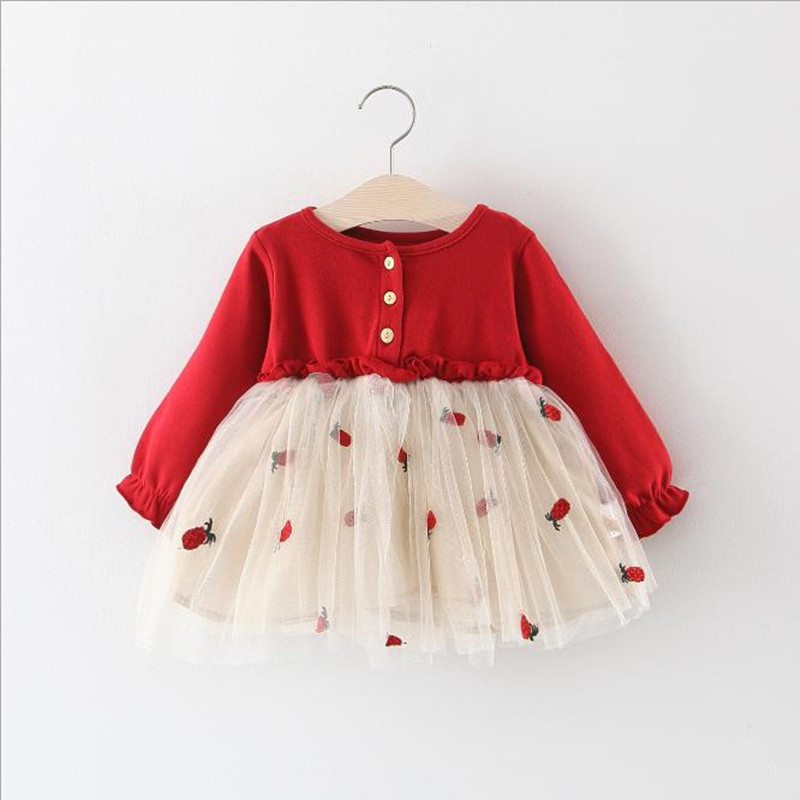 New spring/autumn children's puff sleeve dress Girls long-sleeved mesh princess dress baby pineapple embroidery cute pettiskirt(China)