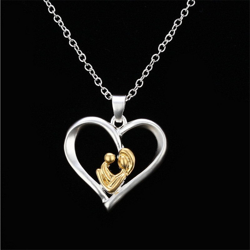 New Mom Birthday Mothers Day Gift Mom Baby Heart shaped Silver Gold Color Pendant Necklace For Women Jewelry ...