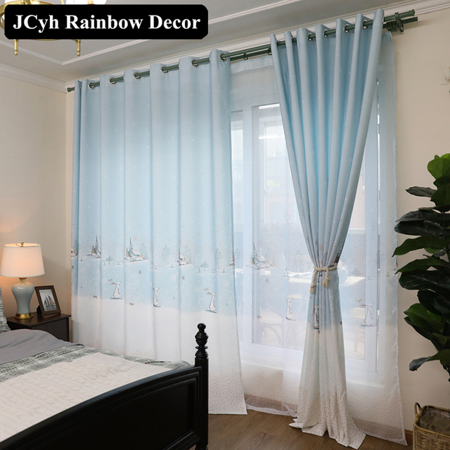 Blue Drapes Cartoon Window Blackout Curtains Japanese Korean Style