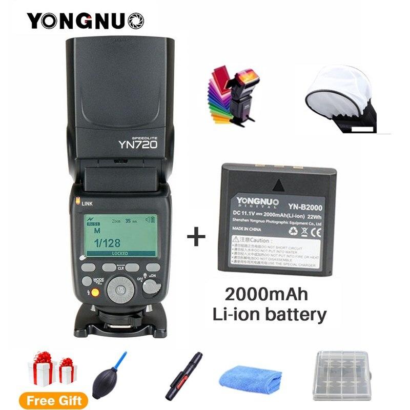 2018 YONGNUO YN720 Al Litio Speedlight Speedlite Flash con Batteria Li-Ion per Canon 1100d 650d 600d 700d 70d Nikon Pentax SLR