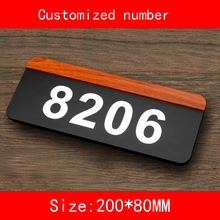 PMMA size 20*8CM Custom-made Numbers letter House Number Room Gate hotel door Plates Hotel custom made halo lit address numbers