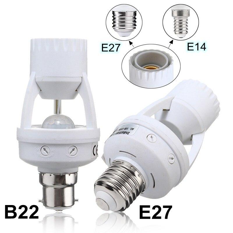 Smuxi E27/B22 to E14/E27 PIR Motion Sensor LED Lamp Base Holder With Light Control Switch Infrared Induction Bulb Socket