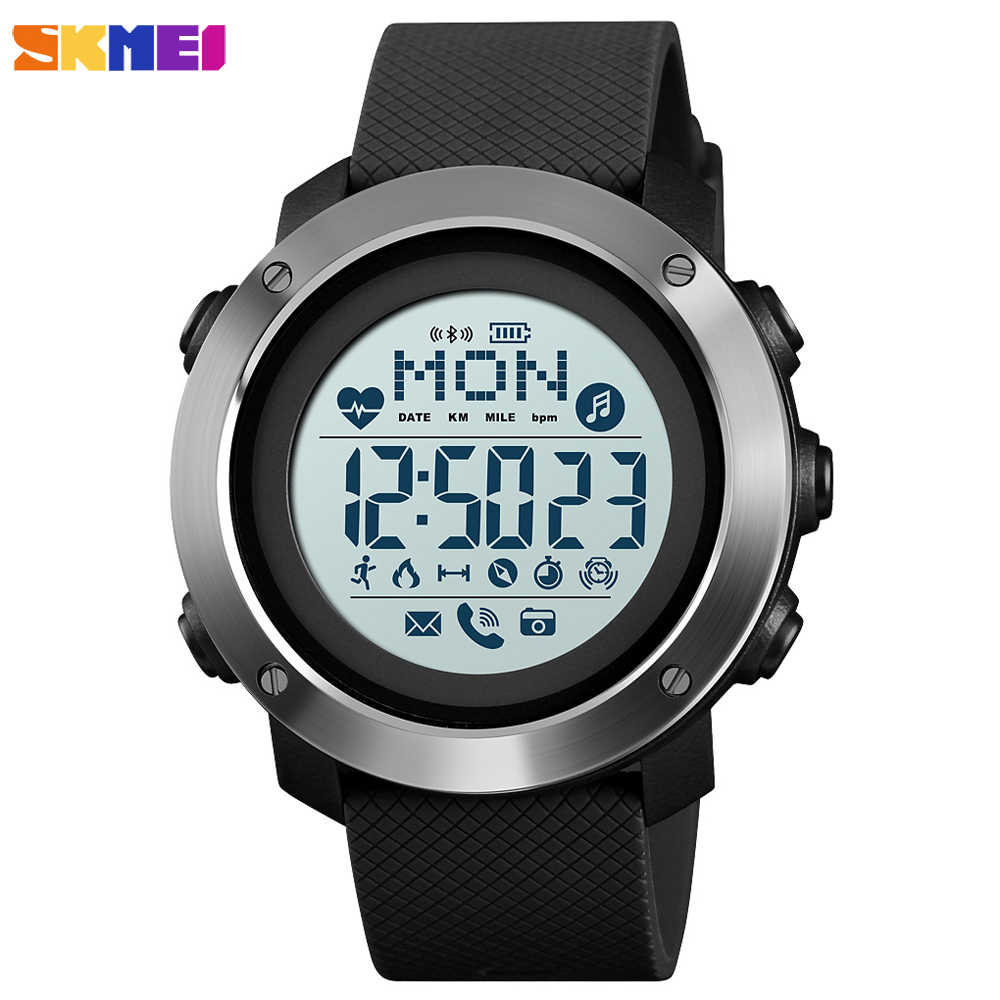 SKMEI Outdoor Sport Smart Men Watch Compass Heart Rate Male Digital Clock Bluetooth Fitness Waterproof Wristwatch inteligent