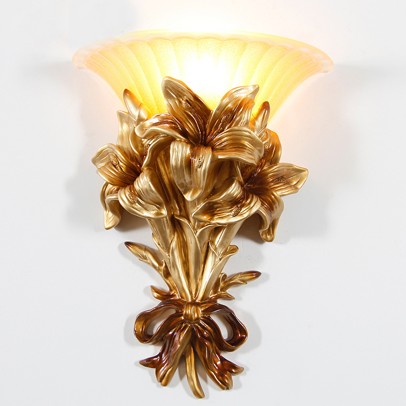 Classic LED Glass Gold Wall Lamp Home Lighting Fixture Resin Flower Wall Sconce For Bedroom Stairs and balcony aisle lamp G705