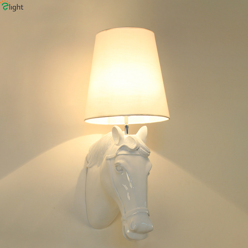 Simple Fabric Tall Wall Light: Retro Resin Horse Led Wall Lamp Simple Fabric Bedroom Led