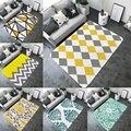 Простой Желтый Серый геометрический Печатный коврик для ванной практичный декоративный нескользящий большой прямоугольный фланелевый ко...