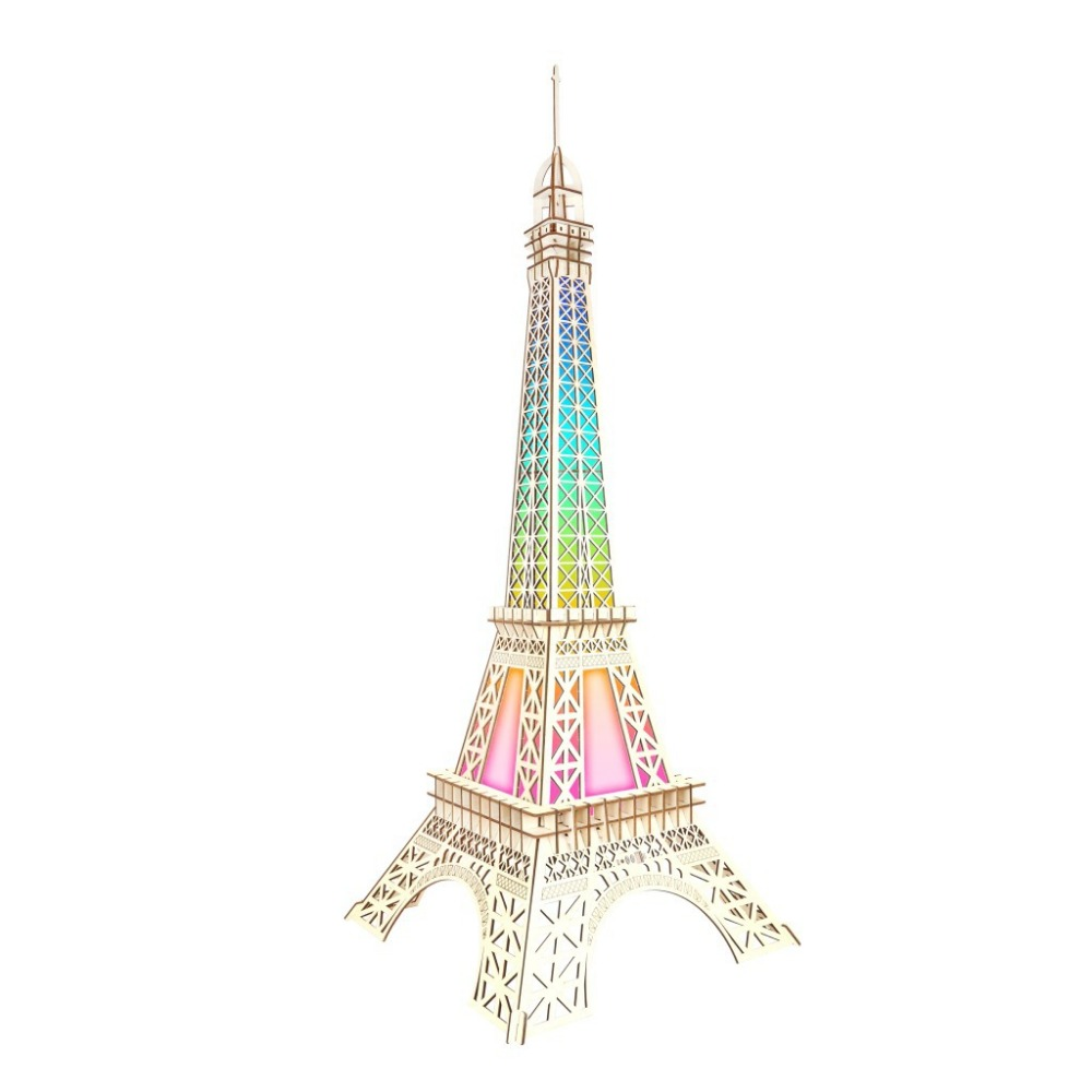 Big Paris Tower Colorful Lights Group B 3D Wooden Model Three dimensional Puzzle Panel Laser wooden model kits models dioramas in Model Building Kits from Toys Hobbies