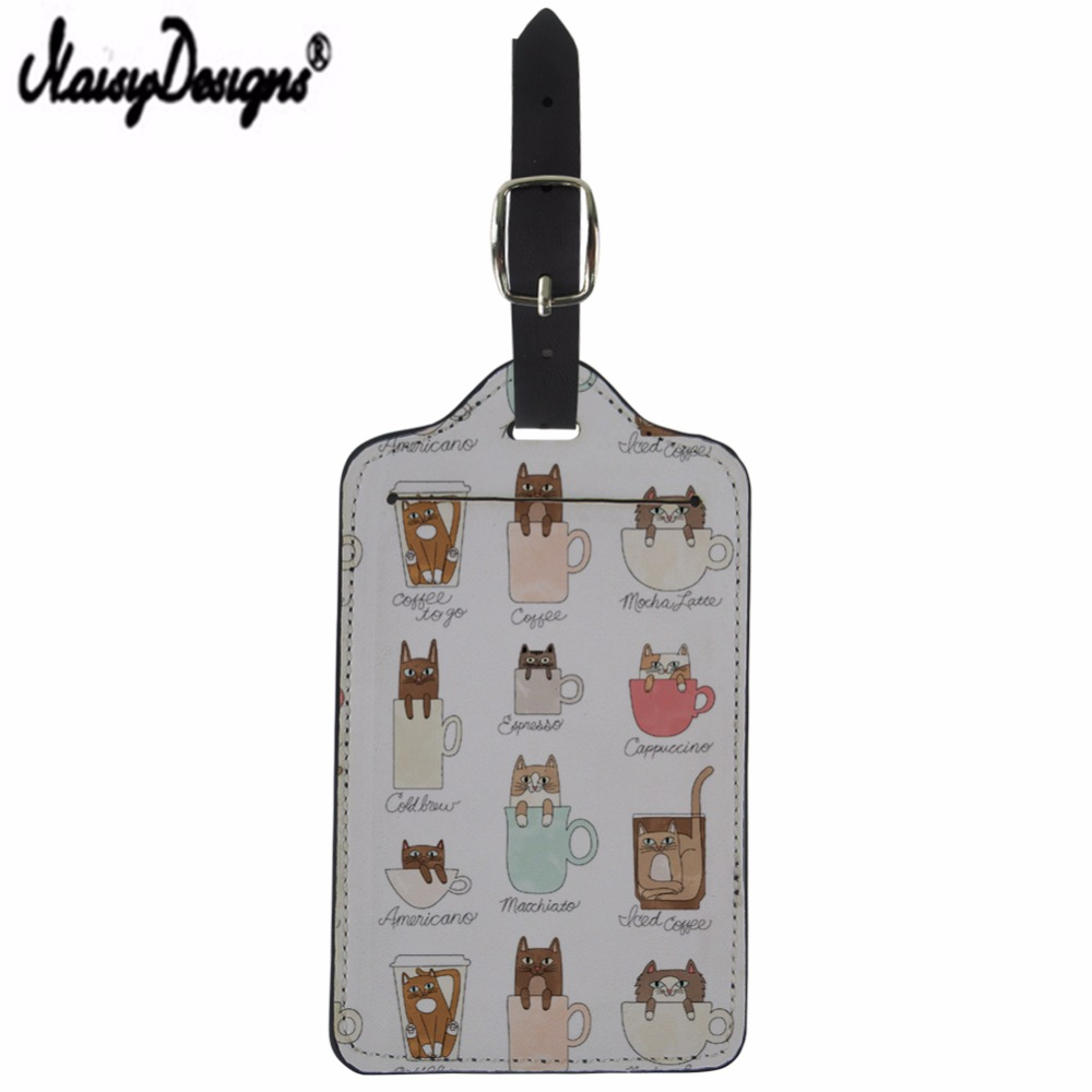NOISYDESIGNS Custom Cat Design Baggage Design Tags Mala Luggage ID Address Holder Suitcase Portable Travel Convenience Label Tag